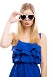 Mujer de la manera con las gafas de sol Imagenes de archivo
