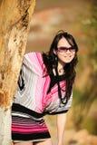 Mujer de la manera con las gafas de sol en verano Foto de archivo