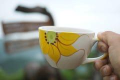 Mujer de la mano que sostiene la taza de café Fotos de archivo
