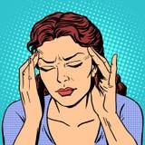 Mujer de la medicina de la salud del dolor de cabeza Imagen de archivo libre de regalías