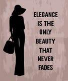 Mujer de la moda con cita sobre elegancia ilustración del vector