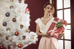 Mujer de la moda con el regalo de la Navidad Imagen de archivo libre de regalías