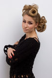 Mujer de la moda con maquillaje hermoso Imagen de archivo libre de regalías