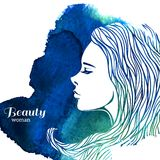 Mujer de la moda de la acuarela con el pelo largo Vector Fotografía de archivo libre de regalías