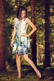 mujer de la moda en la presentación del vestido del color al aire libre en g Imagenes de archivo