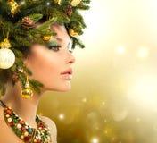 Mujer de la Navidad Fotografía de archivo