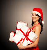 Mujer de la Navidad del sombrero de Papá Noel Imágenes de archivo libres de regalías