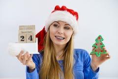 Mujer de la Navidad que sostiene el calendario y el árbol Fotografía de archivo