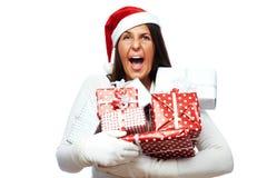 Mujer de la Navidad subrayada hacia fuera Foto de archivo libre de regalías