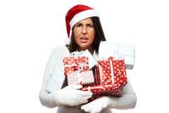 Mujer de la Navidad subrayada hacia fuera Foto de archivo