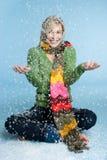 Mujer de la nieve del invierno Imagen de archivo libre de regalías