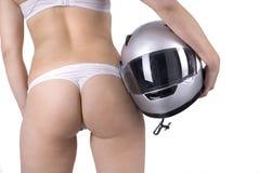 Mujer de la parte posterior o del asno con el casco Fotografía de archivo
