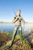 Mujer de la pesca Imagen de archivo libre de regalías