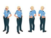 Mujer de la policía en uniforme Icono de la mujer de la policía Vector de la mujer de la policía Mujer de la policía isométrica libre illustration