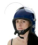 Mujer de la policía en casco del alboroto Fotografía de archivo libre de regalías