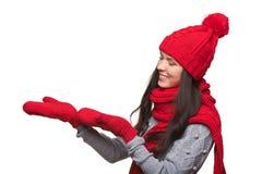 Mujer de la publicidad de Navidad Foto de archivo libre de regalías