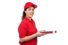 Mujer de la salida de la pizza Imagen de archivo libre de regalías