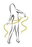 Mujer de la silueta con el metro amarillo Fotografía de archivo libre de regalías