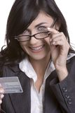 Mujer de la tarjeta de crédito Fotografía de archivo