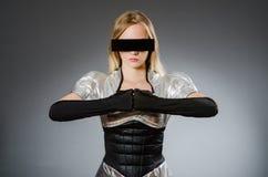 Mujer de la tecnología en futurista Fotos de archivo libres de regalías