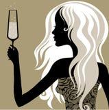 Mujer de la vendimia con el vidrio de champán Imagen de archivo libre de regalías