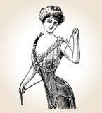 Mujer de la vendimia del vector ilustración del vector
