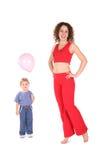 Mujer de la yoga con el bebé imagenes de archivo