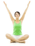 Mujer de la yoga, manos abiertas de la hembra feliz aumentadas para arriba, Lotus Pose Fotos de archivo