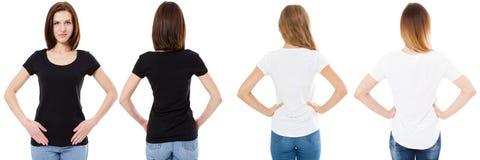 Mujer de las camisetas instaladas, delantera y trasera de las opiniones en la camiseta blanco y negro, falsa, espacio de la copia imagen de archivo