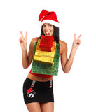 Mujer de las compras de la Navidad Fotos de archivo libres de regalías