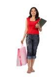 Mujer de las compras del asunto Imágenes de archivo libres de regalías