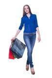 Mujer de las compras emocionada con los panieres Fotos de archivo