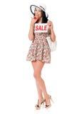 Mujer de las compras en blanco imágenes de archivo libres de regalías