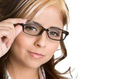 Mujer de las lentes fotos de archivo