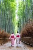 Mujer de los asiáticos que lleva el kimono japonés en el bosque de bambú de Arashiyama en Kyoto, Japón fotografía de archivo libre de regalías