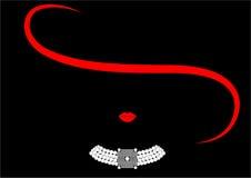 Mujer de lujo de la moda del logotipo de la tienda Diseño de la joyería del logotipo de la compañía, fondo negro Fotos de archivo