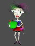 Mujer de mirada malsana que sostiene la manzana verde Foto de archivo