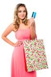 Mujer de moda con los panieres Fotos de archivo libres de regalías