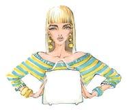 Mujer de moda, elegante con un bolso en manos Foto de archivo