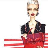 Mujer de moda, elegante con un bolso en manos Fotografía de archivo libre de regalías
