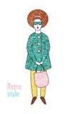 Mujer de moda elegante en una capa y pantalones Estilo retro libre illustration