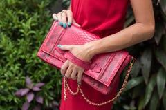 Mujer de moda en el vestido rojo que sostiene el bolso de cuero del pitón del snakeskin Equipo elegante Ciérrese para arriba del  Fotografía de archivo