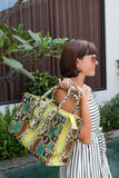 Mujer de moda que sostiene el bolso de lujo del pitón del snakeskin Equipo elegante Ciérrese para arriba del monedero en manos de Imágenes de archivo libres de regalías