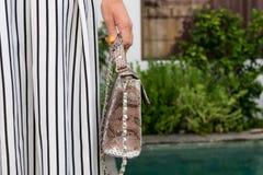 Mujer de moda que sostiene el bolso de lujo del pitón del snakeskin Equipo elegante Ciérrese para arriba del monedero en manos de Foto de archivo