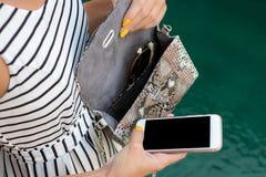Mujer de moda que sostiene el bolso de lujo del pitón del snakeskin Equipo elegante Ciérrese para arriba del monedero en manos de Imagenes de archivo