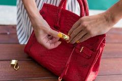 Mujer de moda que sostiene el bolso de lujo del pitón del snakeskin Equipo elegante Ciérrese para arriba del monedero en manos de Fotos de archivo libres de regalías