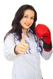 Mujer de negocios acertada del competidor Foto de archivo