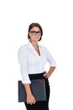 Mujer de negocios acertada joven sonriente aislada Fotografía de archivo