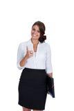 Mujer de negocios acertada joven sonriente aislada Foto de archivo libre de regalías