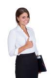Mujer de negocios acertada joven sonriente aislada Foto de archivo